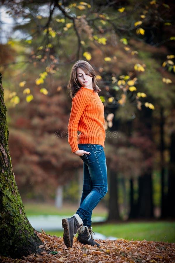 Stående av den nätt teen flickan i höstpark royaltyfri bild