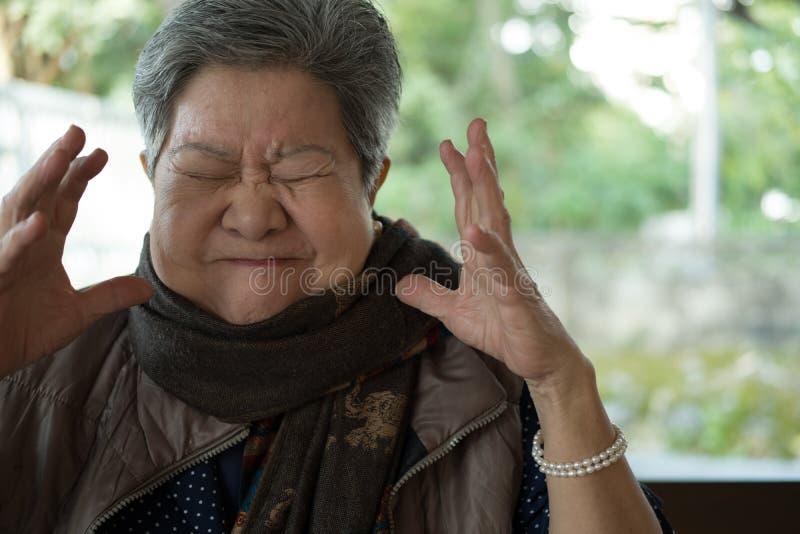 Stående av den rasande äldre kvinnan, arg äldre kvinnlig, ilsket s arkivfoto