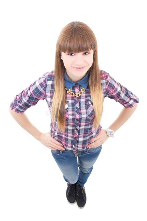 Stående av den roliga attraktiva tonårs- flickan som isoleras på vit arkivfoton