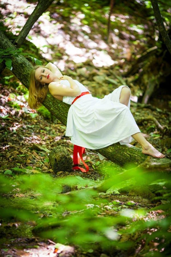 Stående av den romantiska blonda kvinnan i den vita klänningen i den felika skogen, selektiv fokus begrepp av den sagolika nymfen royaltyfria foton