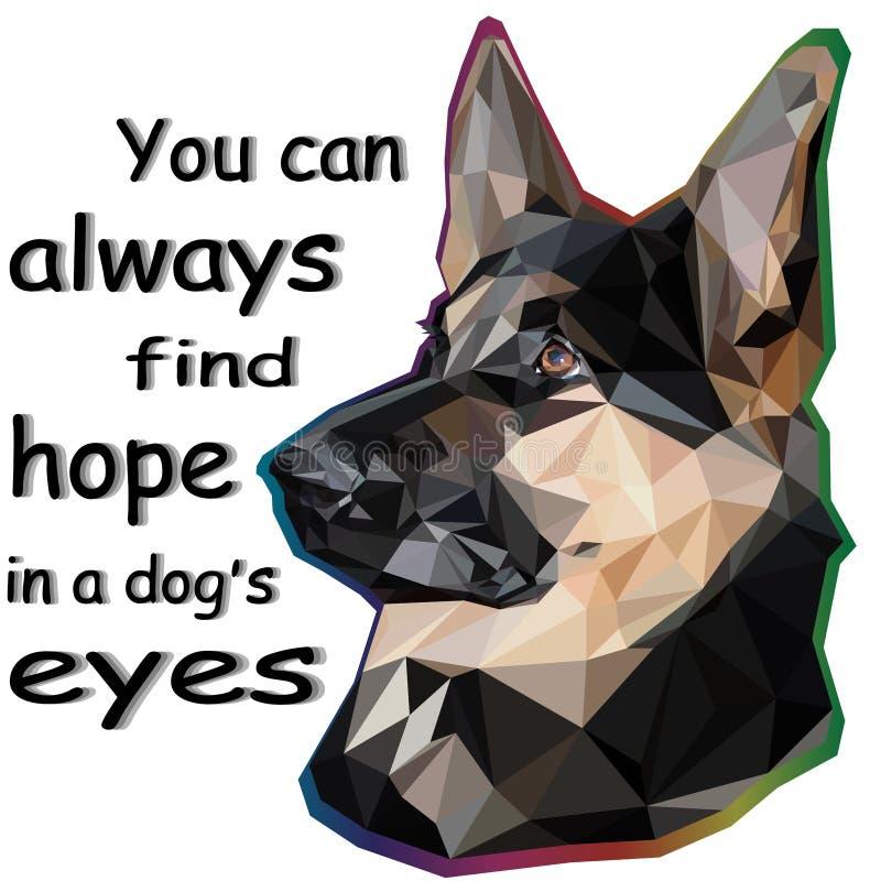 Stående av den tyska herden i låg poly stil som isoleras på vit bakgrund och bokstäver: du kan alltid finna hopp i hunden stock illustrationer