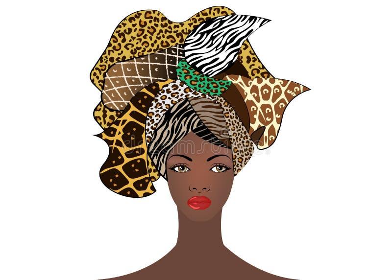 Stående av den unga afrikanska kvinnan i en färgrik turban Slå in afro- mode, Ankara, Kente, kitenge, afrikanska djura kvinnaklän vektor illustrationer