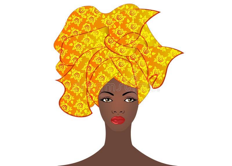 Stående av den unga afrikanska kvinnan i en färgrik turban Slå in afro- mode, Ankara, Kente, kitenge, afrikanska kvinnaklänningar vektor illustrationer