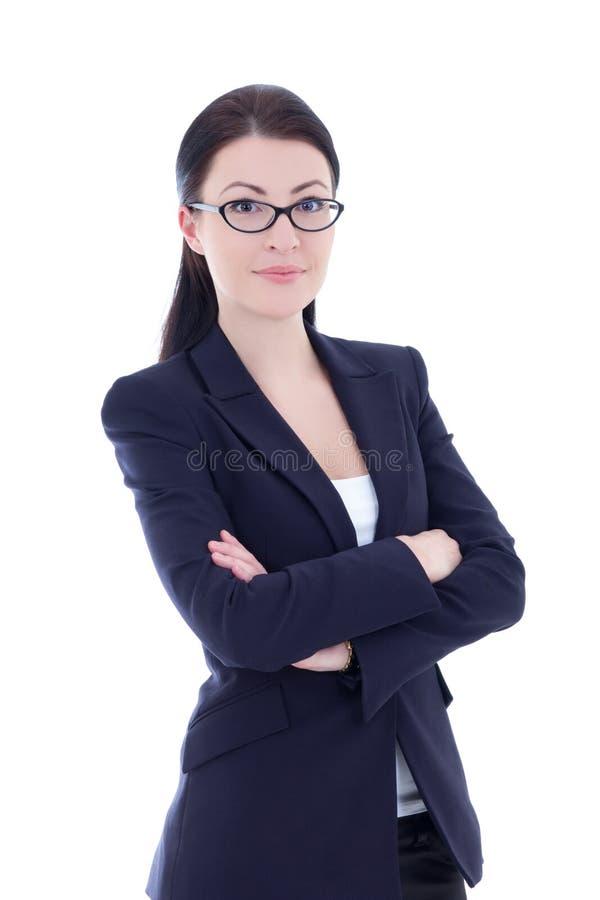 Stående av den unga attraktiva affärskvinnan som isoleras på vit arkivbild
