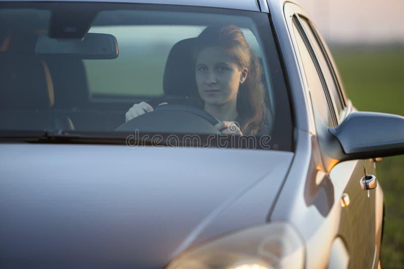 Stående av den unga attraktiva långhåriga le kvinnan inom den skinande silverbilen på hjulet på soligt grönt fält för ljus suddig royaltyfri bild