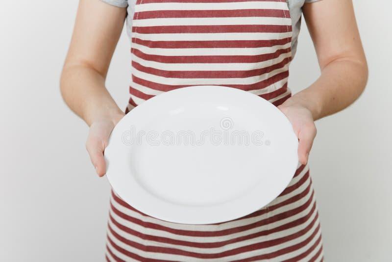 Stående av den unga attraktiva le caucasian hemmafrun för brunett på vit bakgrund Härlig hushållerskakvinna royaltyfria bilder