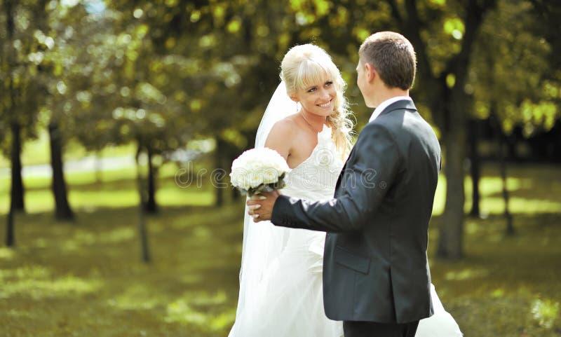 Stående av den unga härliga bruden och brudgummen arkivfoton