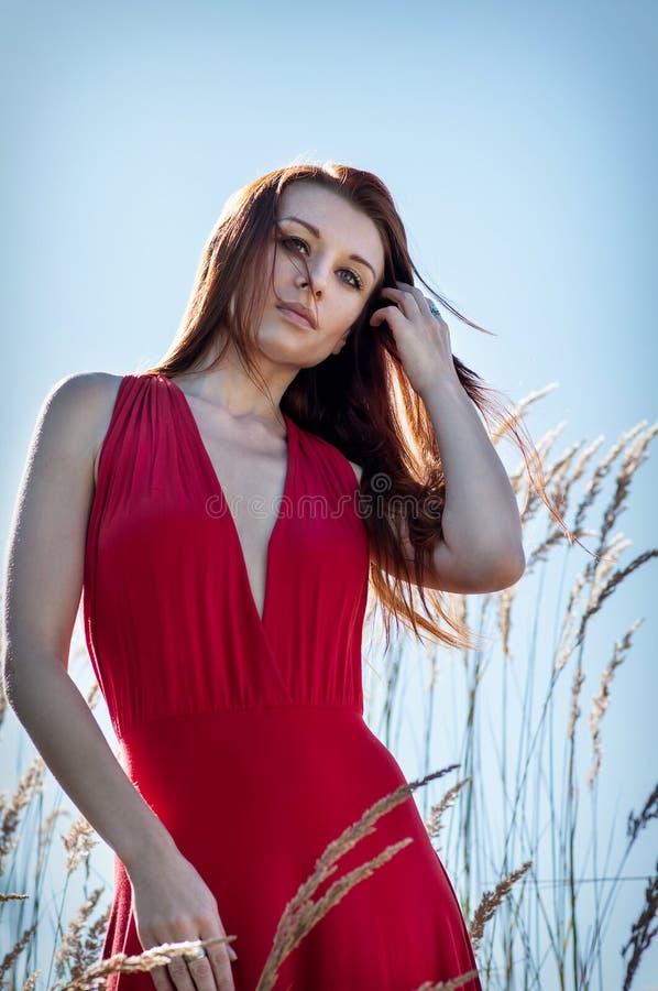Stående av den unga härliga för kvinna som röda klänningen länge är stående tillbaka i fältet royaltyfria foton