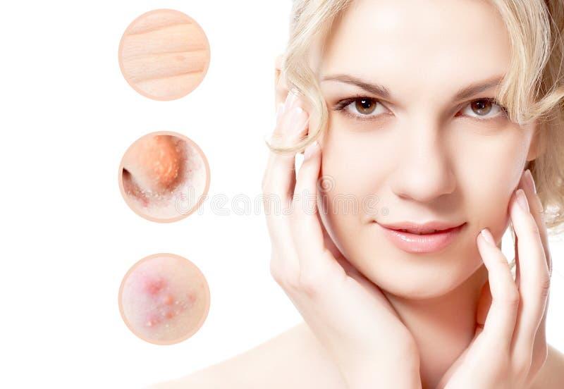 Stående av den unga härliga kvinnan med problem och ren hud royaltyfria foton