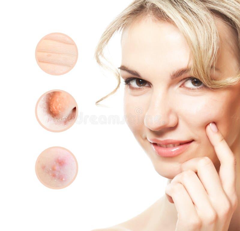 Stående av den unga härliga kvinnan med problem och ren hud arkivfoton