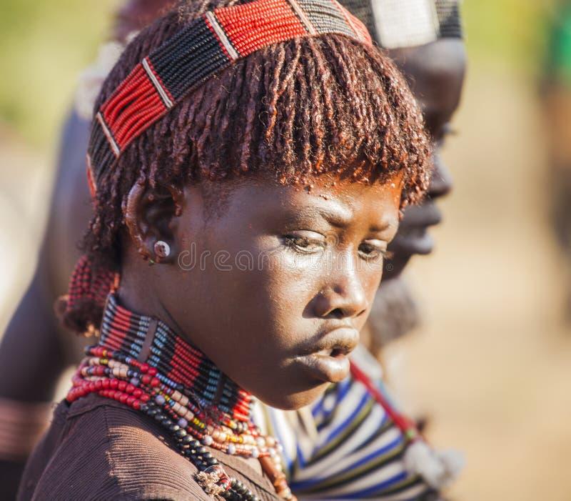 Stående av den unga Hamar kvinnan på tjurbanhoppningceremoni Turmi Omo dal, Etiopien arkivbild