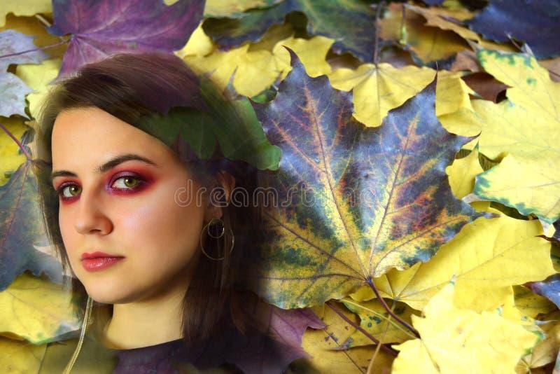 Stående av den unga kvinnan med gröna ögon mot bakgrunden av höstsidor fotografering för bildbyråer