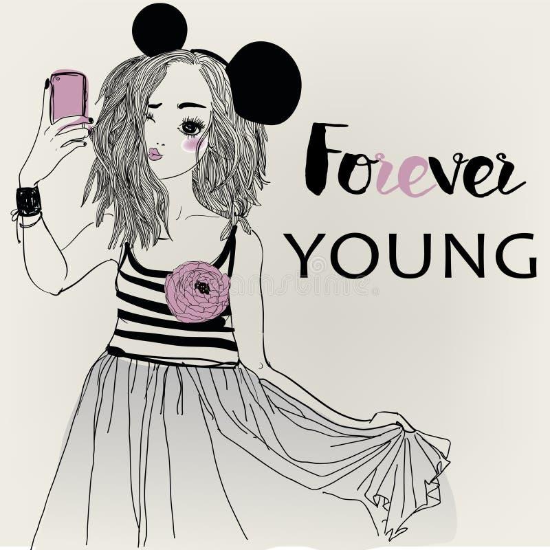 Stående av den unga kvinnan med långt hår vektor illustrationer