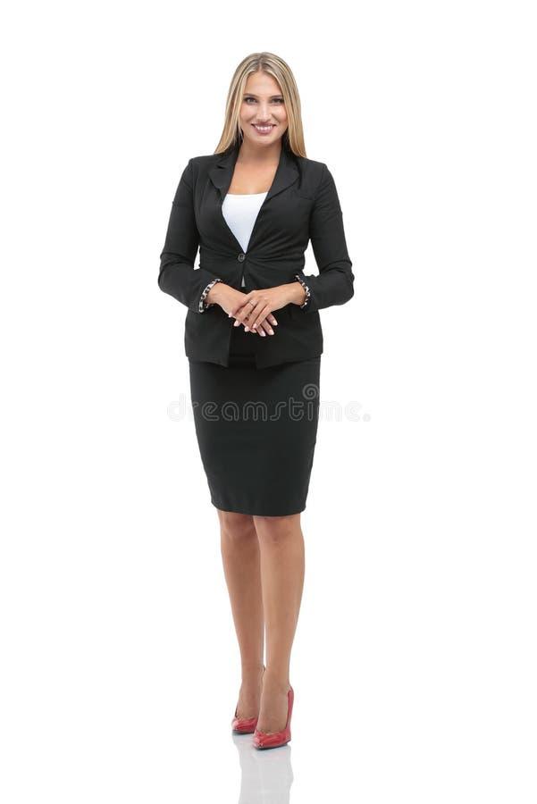 Stående av den unga lyckliga le affärskvinnan som isoleras mot w royaltyfri fotografi