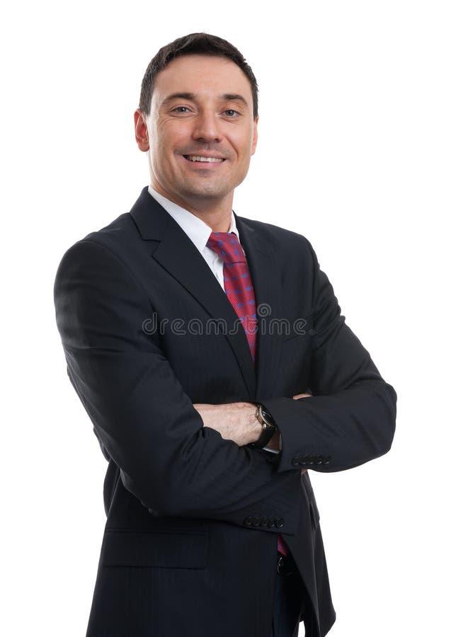 Stående av den unga lyckliga le affärsmannen royaltyfri fotografi