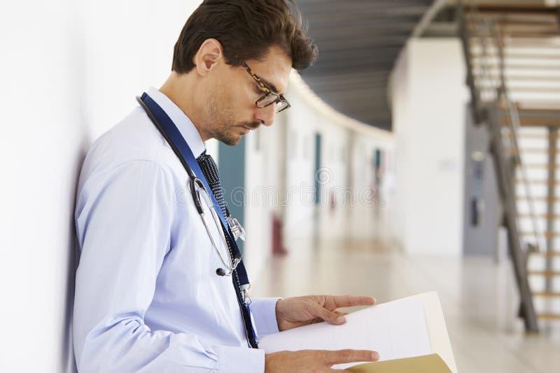 Stående av den unga manliga doktorn med stetoskopet och anmärkningar royaltyfri foto