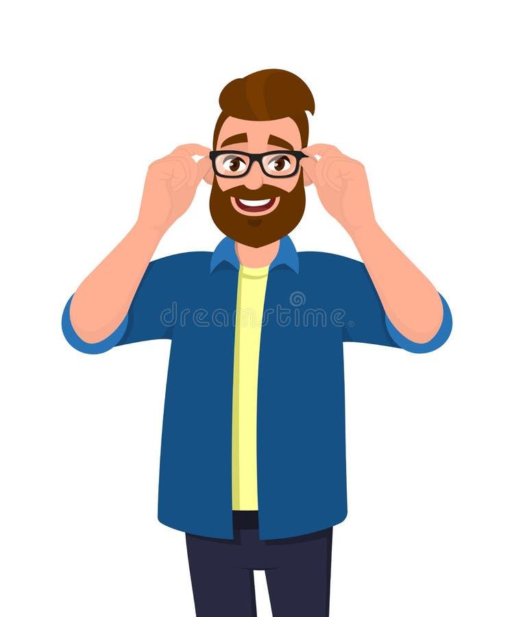 Stående av den unga skäggiga mannen som rymmer eller justerar ögonexponeringsglasen med händer Bärande anblickar för moderiktig p royaltyfri illustrationer