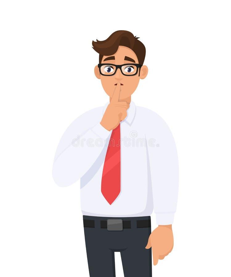 Stående av den unga stiliga affärsmannen som gör shh gest, håller hemlighet eller frågar tystnad med fingret på kanter Håll tyst! stock illustrationer
