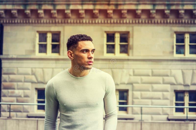 Stående av den unga stiliga amerikanska mannen i New York royaltyfri foto