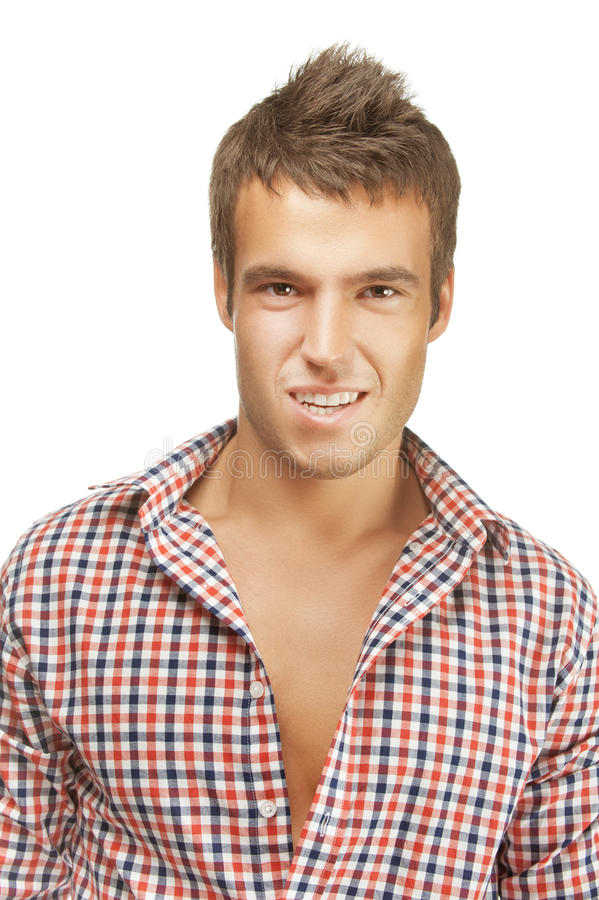 Stående av den unga stiliga mannen royaltyfri foto