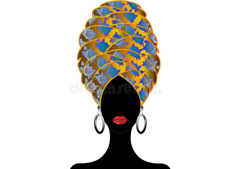 Stående av den unga svarta kvinnan i en turban Animeringafrikanskönhet Vektorfärgillustration som isoleras på en vit bakgrund vektor illustrationer