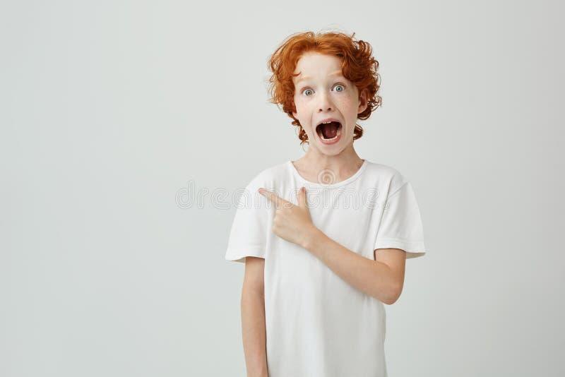 Stående av det glade ljust rödbrun barnet med fräknar som poserar med den öppnade munnen och galet uttryck som pekar på fritt utr arkivbild