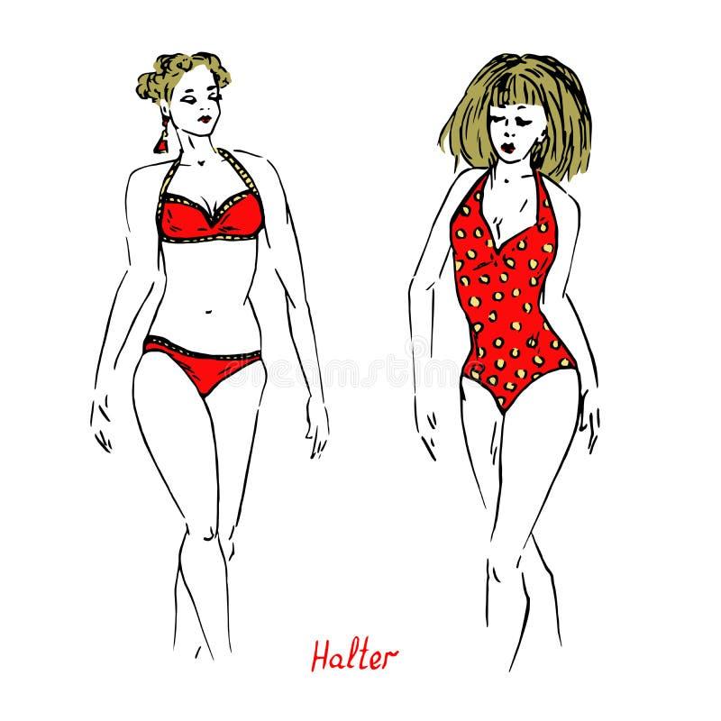 Stående av det sexiga blonda retro stiftet upp flickor i röda en och två stycken haltertyp av baddräkten med inskriften, utdragen vektor illustrationer