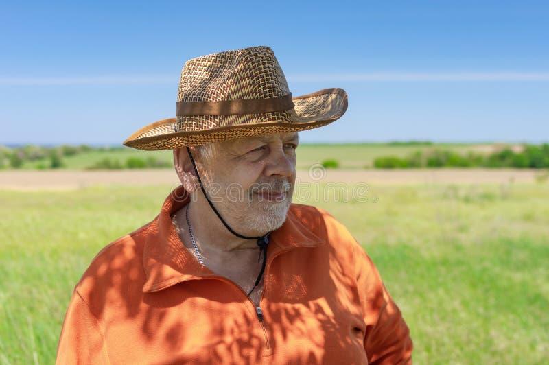 Stående av det skäggiga Caucasian höga bondeanseendet mot grönt jordbruks- fält royaltyfri fotografi