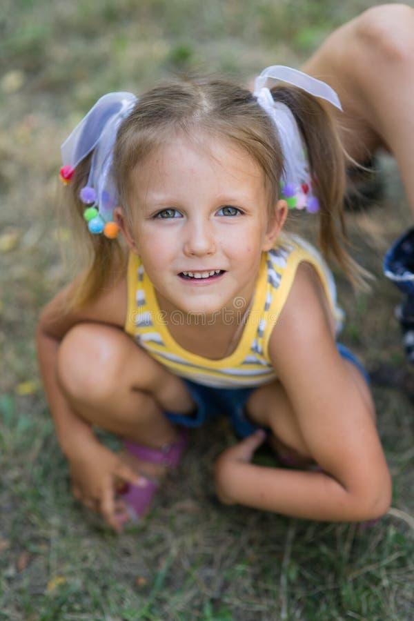 Stående av en årig flicka fyra royaltyfria bilder
