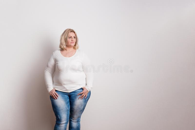 Stående av en attraktiv överviktig kvinna i studio på en vit bakgrund royaltyfri fotografi