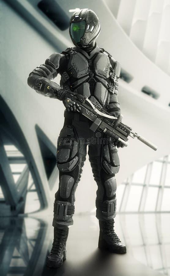 Stående av en beväpnad maskerad futuristisk bepansrad soldat som poserar med en modern inre bakgrund vektor illustrationer