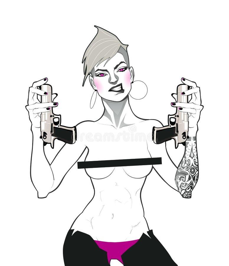Stående av en dam med vapen stock illustrationer