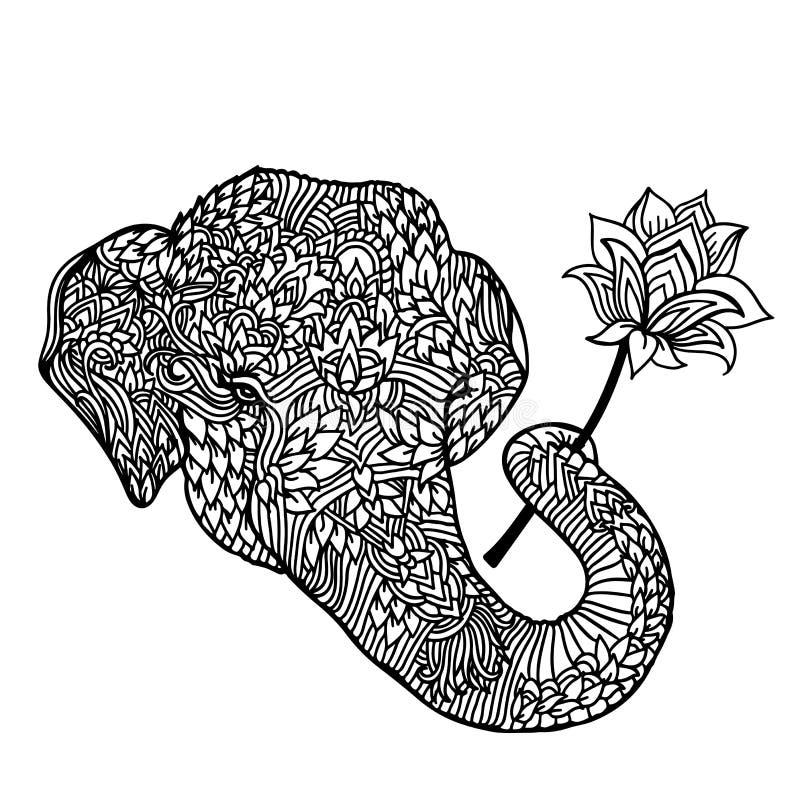 Stående av en elefant med en lotusblommablomma i asiatisk stil Mandalamodell för vuxen färgläggningbok Vektorsvart och royaltyfri illustrationer