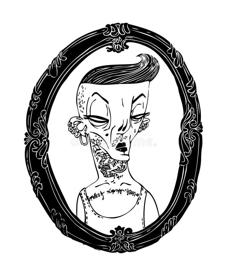 Stående av en farlig kvinna Svartvit illustration på en affisch och på en T-tröja royaltyfri illustrationer