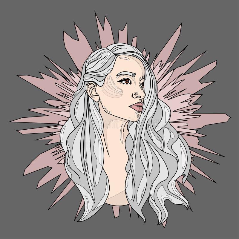Stående av en flicka med den långa gråa hårvektorn royaltyfri illustrationer