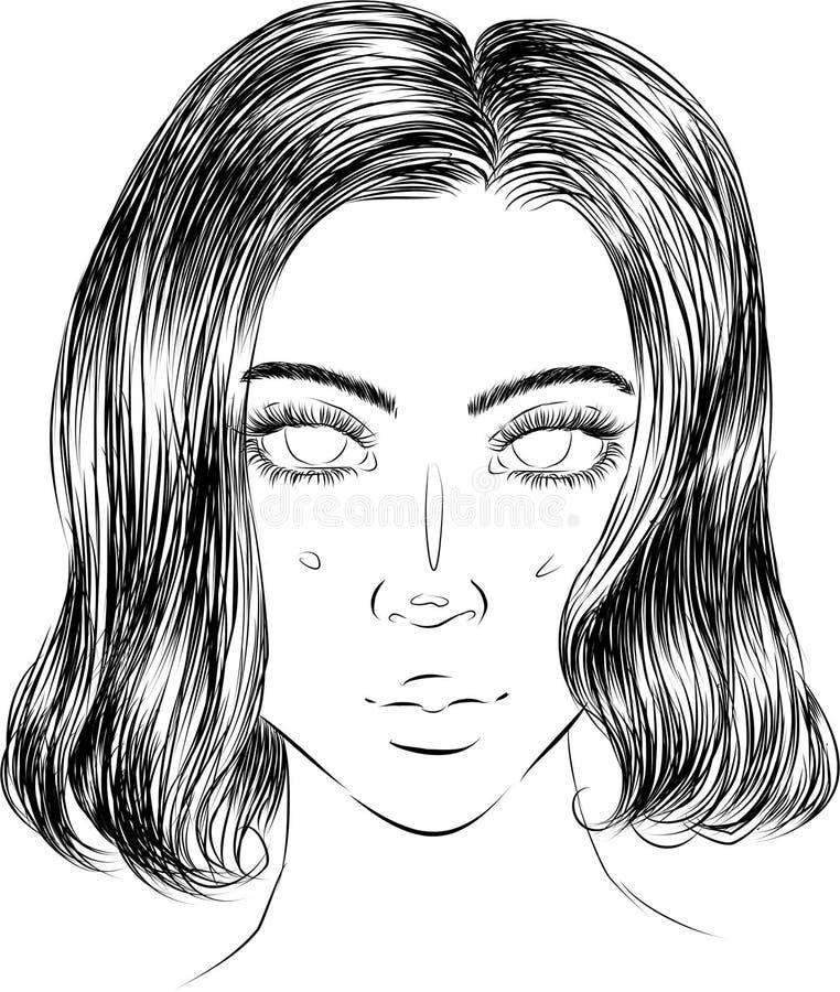 Stående av en flicka med kort hår arkivbilder