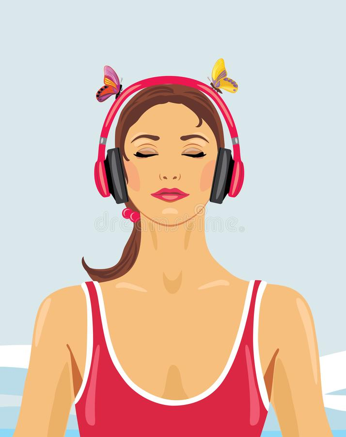 Stående av en flicka som lyssnar till musik med hörlurar royaltyfri illustrationer