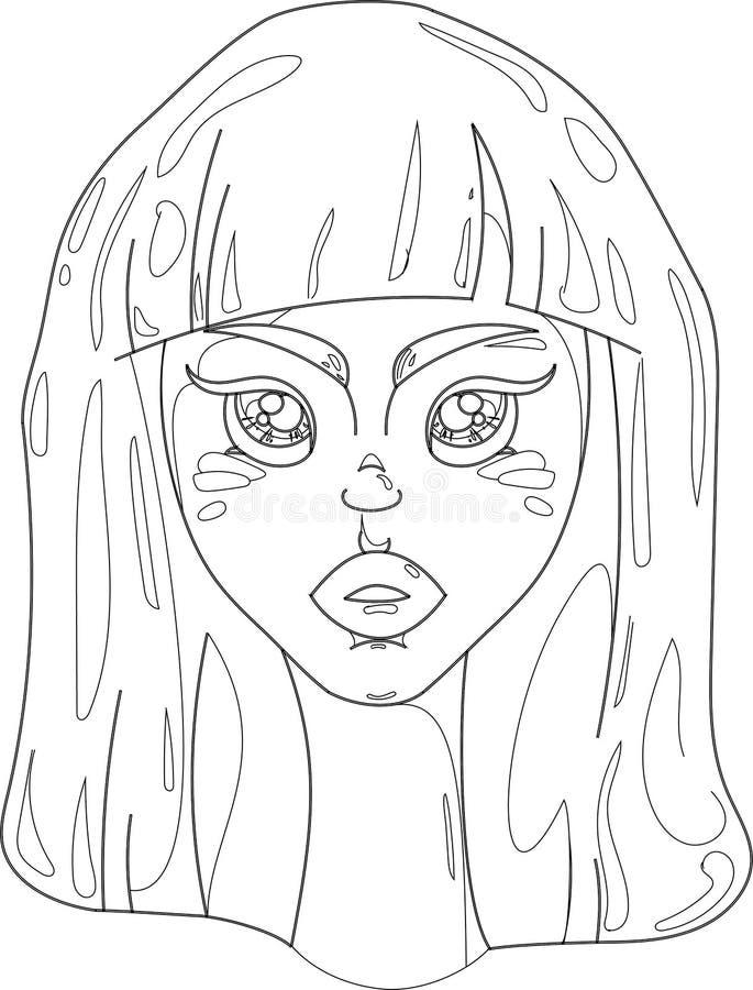 Stående av en flickavektor stock illustrationer