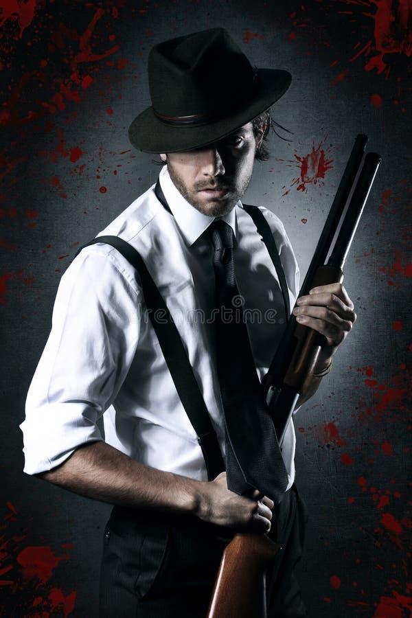 Stående av en gangster med torkat blod royaltyfri fotografi