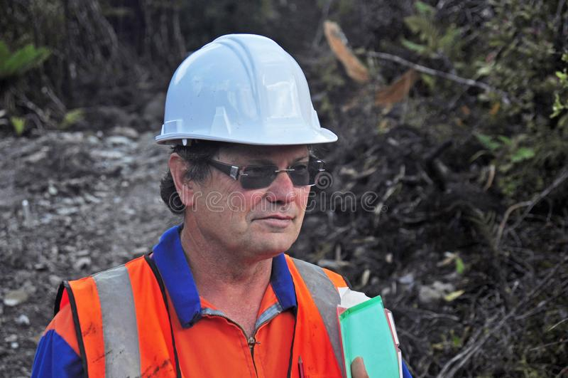 Stående av en geolog som utomhus arbetar royaltyfri bild