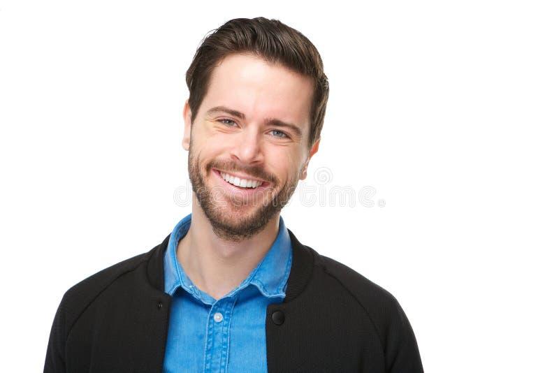 Stående av en gladlynt man med att le för skägg arkivbild