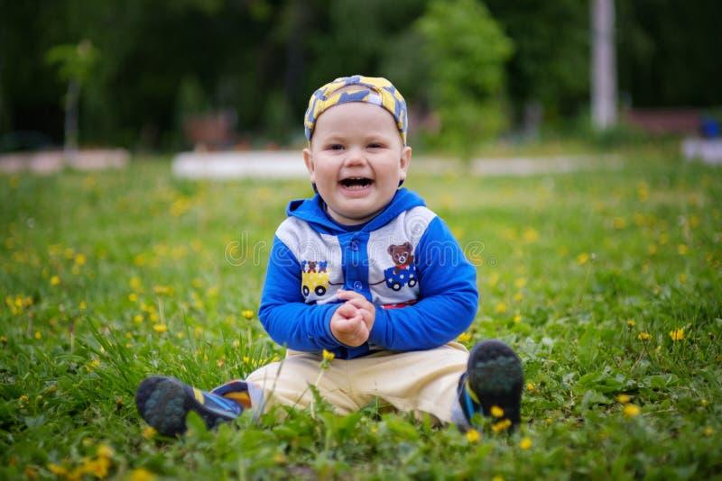 Stående av en gullig europeisk pojke på en grön gräsmatta med maskrosor royaltyfri foto