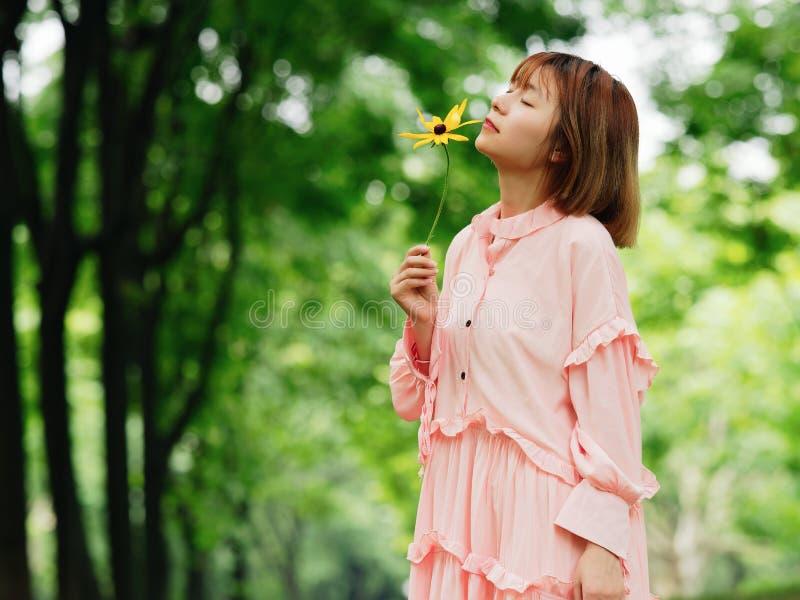 Stående av en gullig kinesisk flicka i den rosa klänningen som rymmer den lösa blomman och luktar den i stående för mode för somm royaltyfri bild