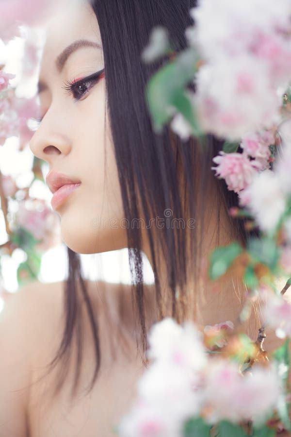 Stående av en härlig asiatisk flicka utomhus mot vårblomningträd arkivfoton