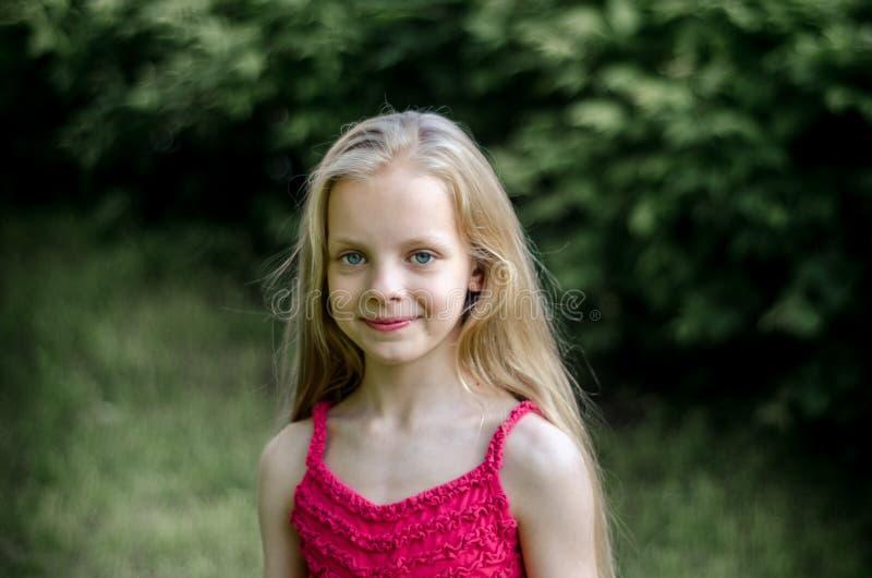 Stående av en härlig blond liten flicka med långt hår royaltyfria bilder