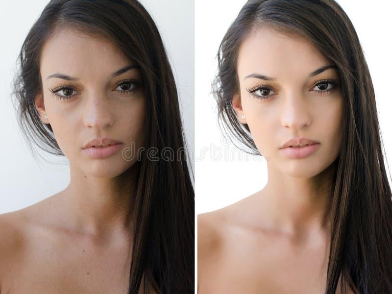 Stående av en härlig brunettflicka före och efter som retuscherar med photoshop arkivbild