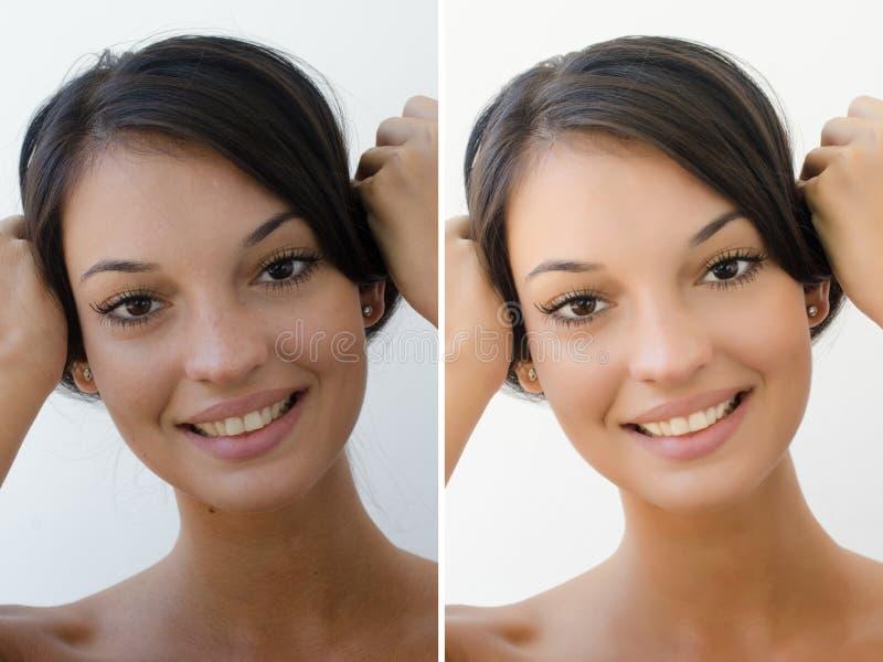 Stående av en härlig brunettflicka före och efter som retuscherar med photoshop royaltyfria foton
