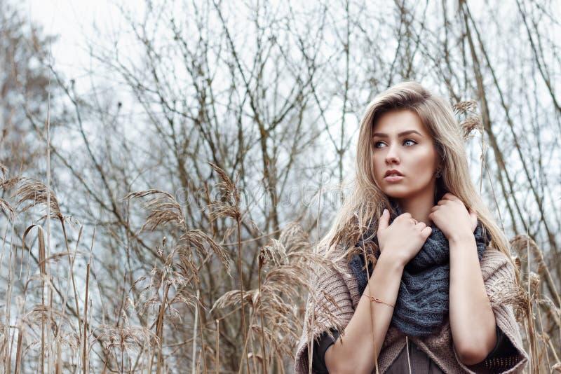 Stående av en härlig flicka med blåa ögon i ett grått omslag i fältet bland träd och högväxt torrt gräs som tonas i skuggor av gr royaltyfria foton