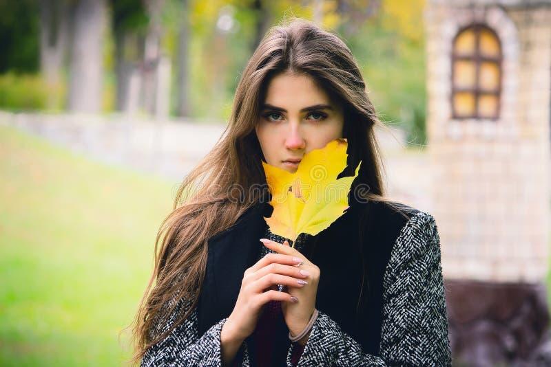 Stående av en härlig flicka med iklätt flödande hår ett svart lag som rymmer en lönnlöv i henne händer fotografering för bildbyråer