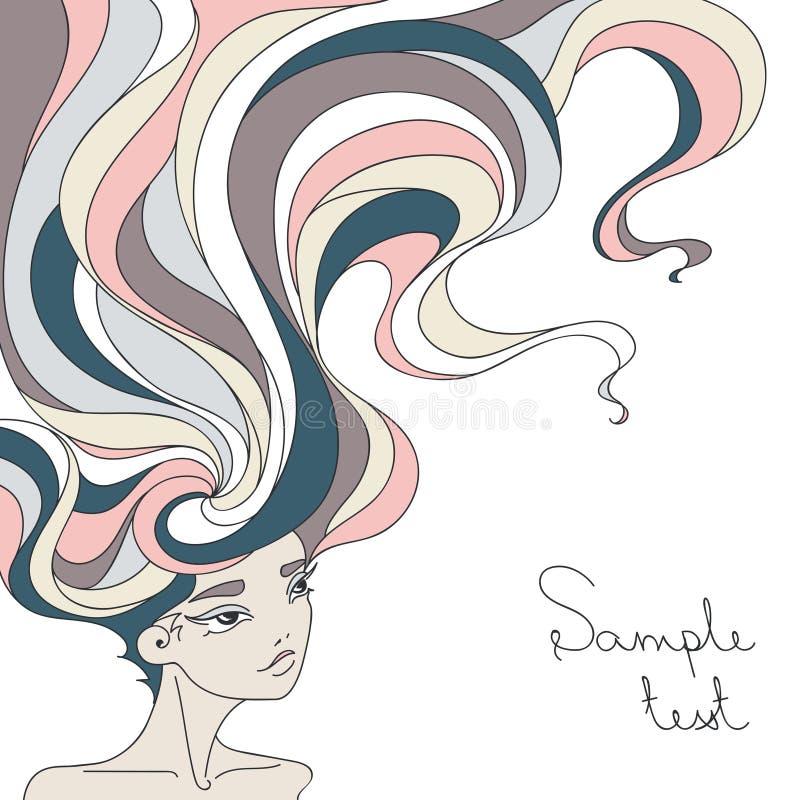 Stående av en härlig flicka med långt krabbt hår vektor illustrationer